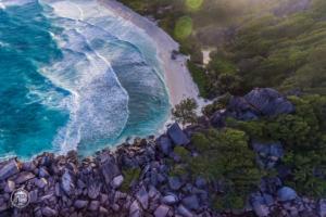 seszele seychelles la digue grand anse dron drone ocean zachod slonca